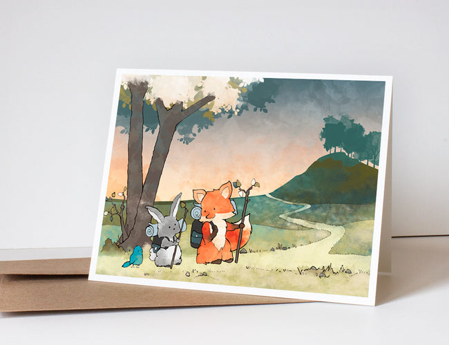 Fox and Rabbit Greeting Card - Hiking