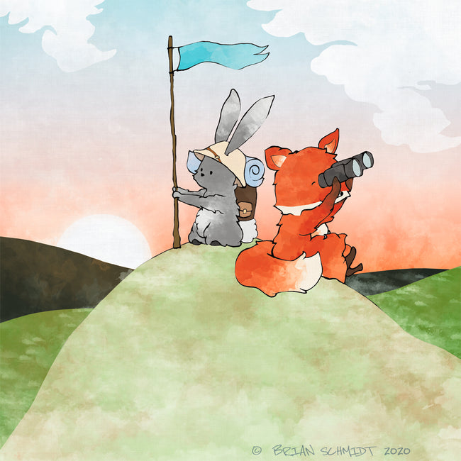 Fox and Rabbit Art Print - Climbing to a Peak