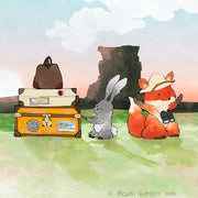 Fox and Rabbit Art Print - Hauling Luggage