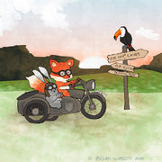 Fox and Rabbit Art Print - Vintage Motorcycle