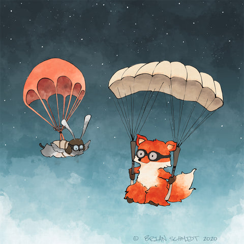 Fox and Rabbit Art Print - Parachuting