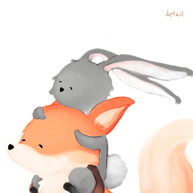 Fox and Rabbit Art Print - Piggyback Ride