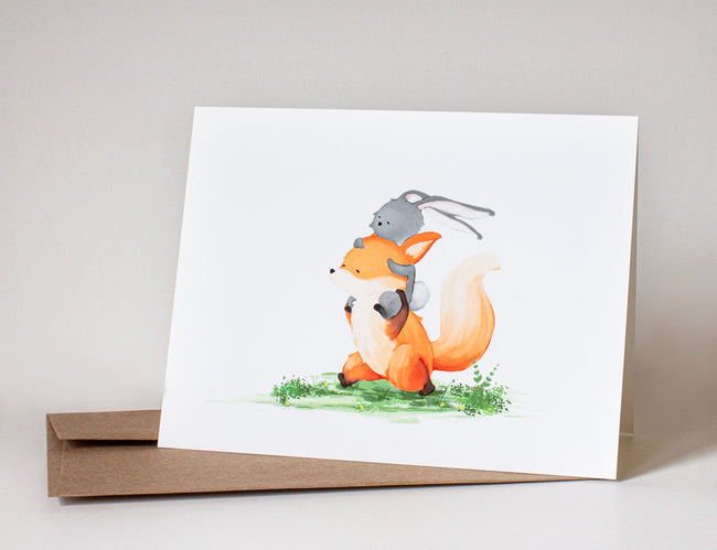 Fox and Rabbit Greeting Card - Piggyback Ride