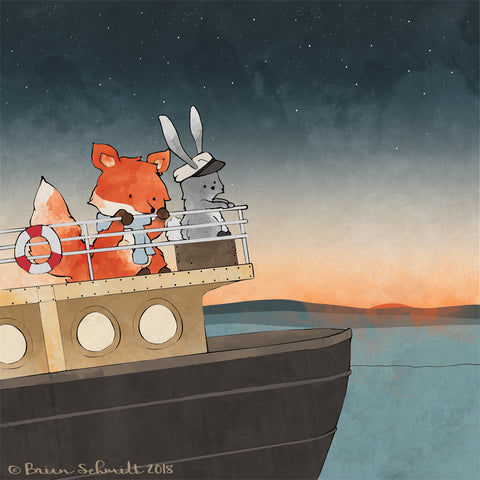 Fox and Rabbit Art Print - Steamboat Adventures