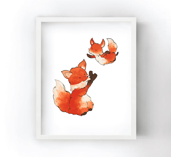 Fox and Baby Fox Art Print - Playful Toss