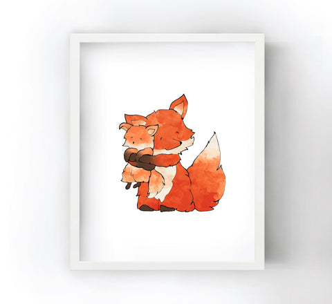 Fox and Baby Fox Art Print - Big Hugs