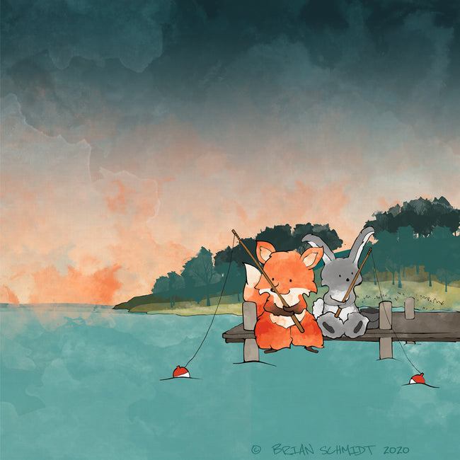 Fox and Rabbit Art Print - Fishing