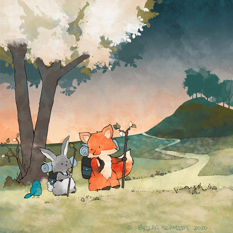 Fox and Rabbit Art Print - Hiking