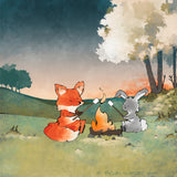 Fox and Rabbit Art Print - Roasting Marshmallows