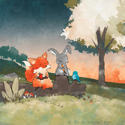 Fox and Rabbit Art Print - Snacking in the Woods