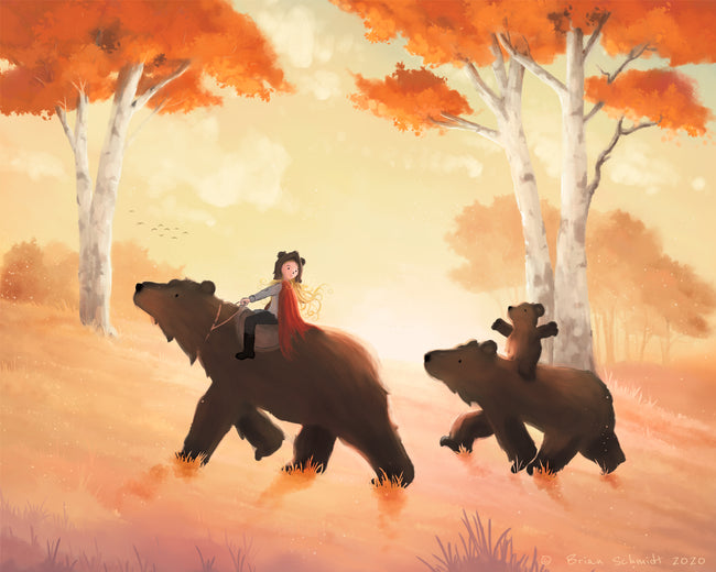 Goldilocks Art Print - Travelling with the 3 Bears
