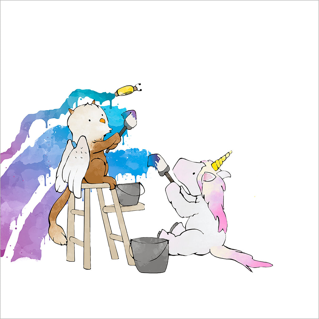 Unicorn and Griffin Painting a Rainbow
