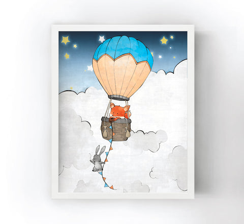 Fox and Rabbit Art Print - Hot Air Balloon
