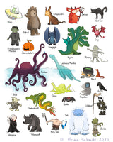 Alphabet Print - Monsters and Creatures