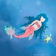 Mermaid Art Print - Swimming with a Sea Turtle
