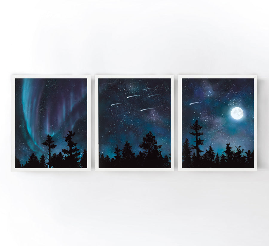 Stars and Trees Set of 3 Art Prints