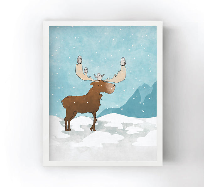 Moose and Snow Owls Art Print - Walking in the Snow