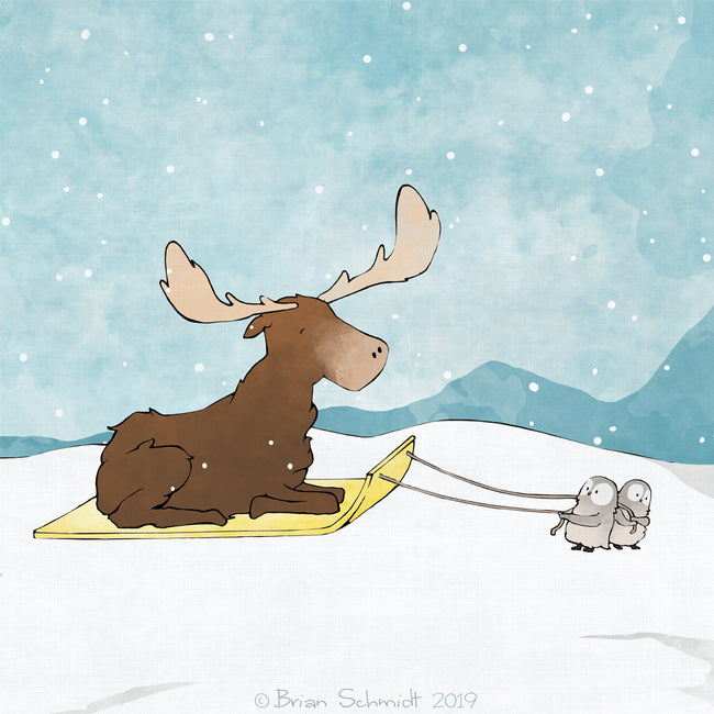 Moose and Snow Owls Art Print - Sledding