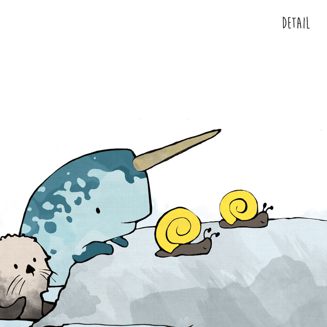 Narwhal and Sea Otters Art Print - Racing Snails