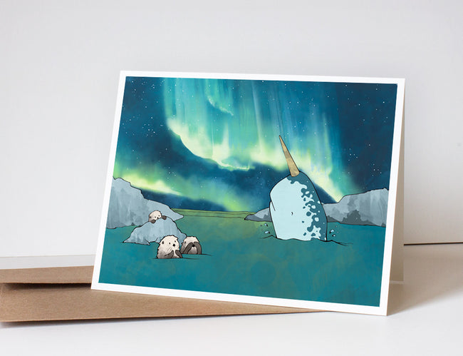 Narwhal & Sea Otter Greeting Card - Northern Lights