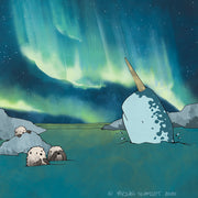 Narwhal and Sea Otters Art Print - Aurora Borealis
