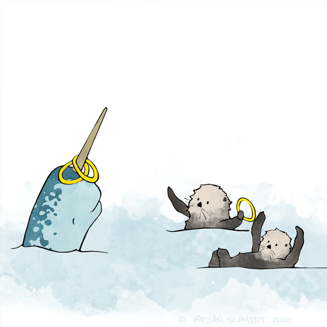 Narwhal and Sea Otters Art Print - Playing Hoops