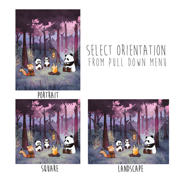 Panda Art Print - Animals Around a Campfire