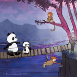 Panda Art Print - Crossing a Precarious Bridge
