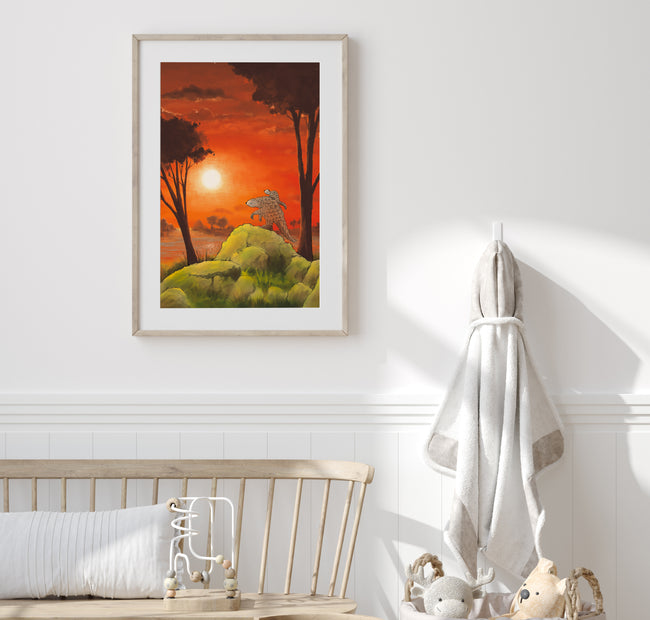 Pangolin Art Print - Viewing the Sunset