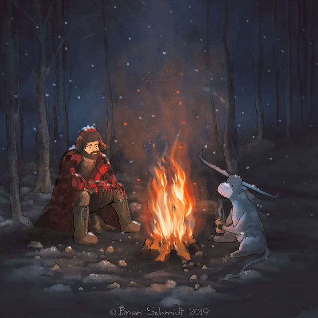 Paul and Babe - Staying Warm by a Campfire