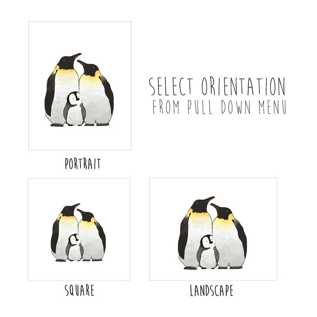 Penguin Family Art Print - Family of 3