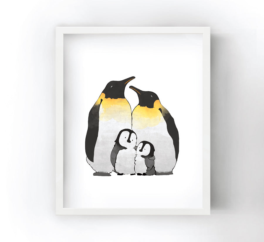 Penguin Family Art Print - Family of 4