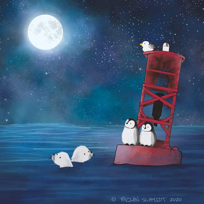 Penguins and Seals Art Print - Resting on a Buoy