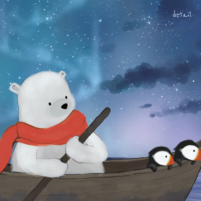 Puffins and Polar Bear Art Print - Sailing Under the Stars