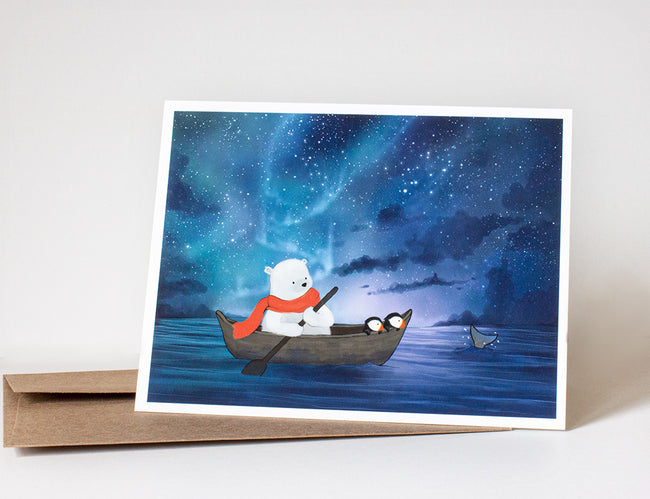 Polar Bear & Puffins Greeting Card - Sailing in the Arctic