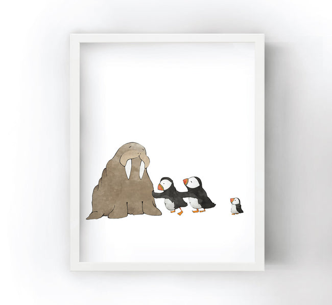 Puffins Art Print - Pushing a Walrus