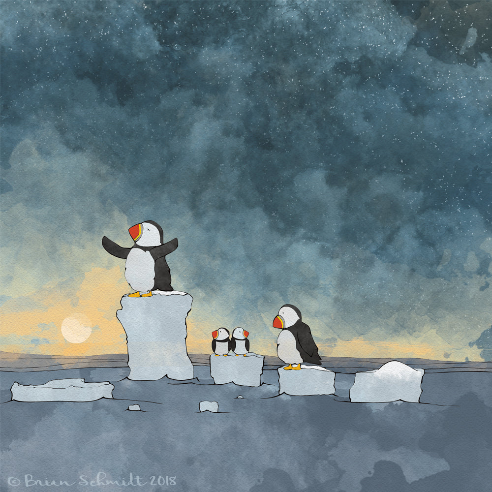 Puffins Art Print - on Icebergs