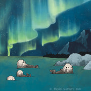 Sea Otters Art Print - Aurora Borealis