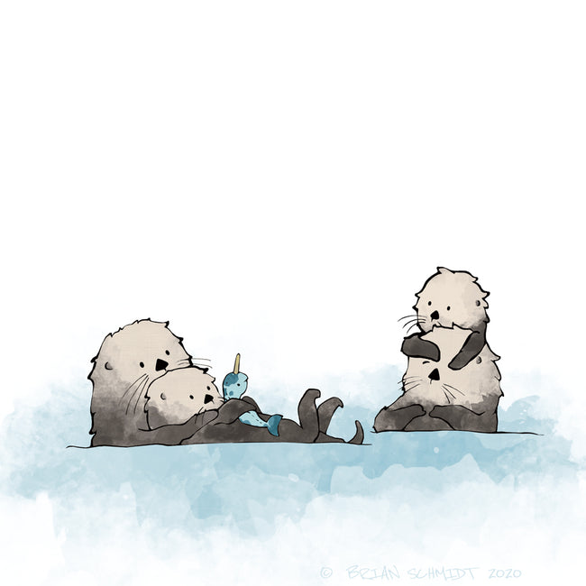 Sea Otters Art Print - Family of 4
