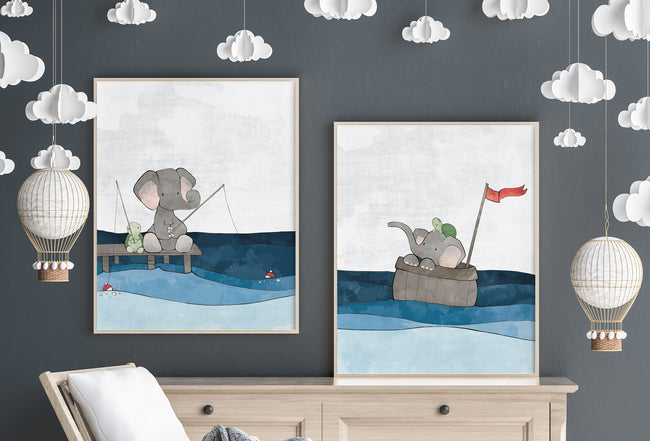 Elephant and Turtle Art Print - Gone Fishing