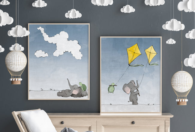 Elephant and Turtle Art Print - Cloud Gazing (Blue Sky)