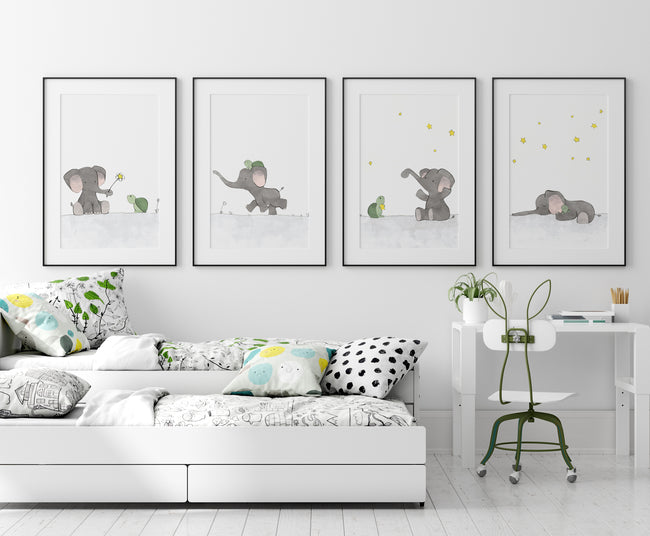 Elephant and Turtle Art Print - Taking a Stroll