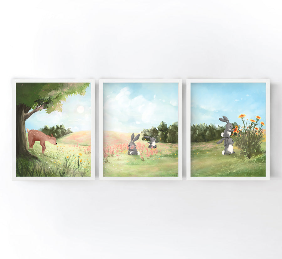 Woodland Animal Art Prints set of 3 - Rabbits and Fawn in the Meadow