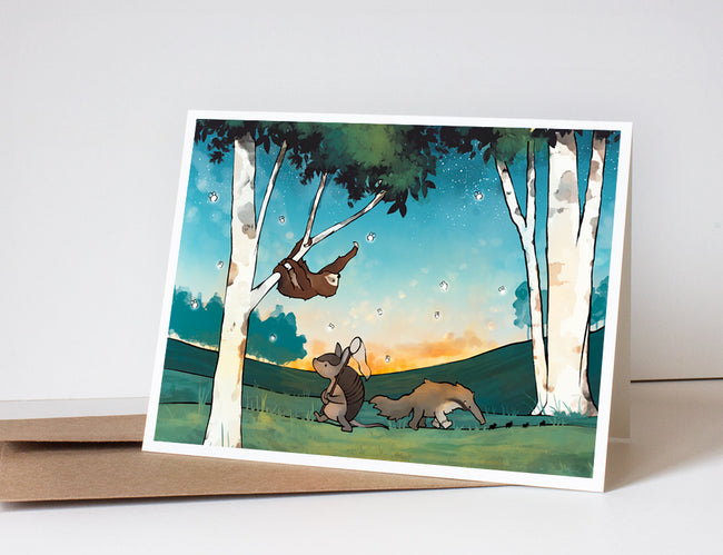 Sloth Greeting Card- Chasing Bugs
