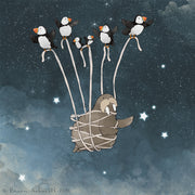 Puffins Art Print - Flying with a Walrus