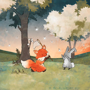 Fox and Rabbit Art Print - Chasing Fireflies