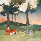 Fox and Rabbit Art Print - Watching Fireflies