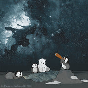 Penguins and Polar Bear Art Print - Stargazing