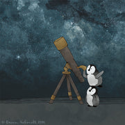 Penguins Art Print - Viewing the Sky with a Telescope