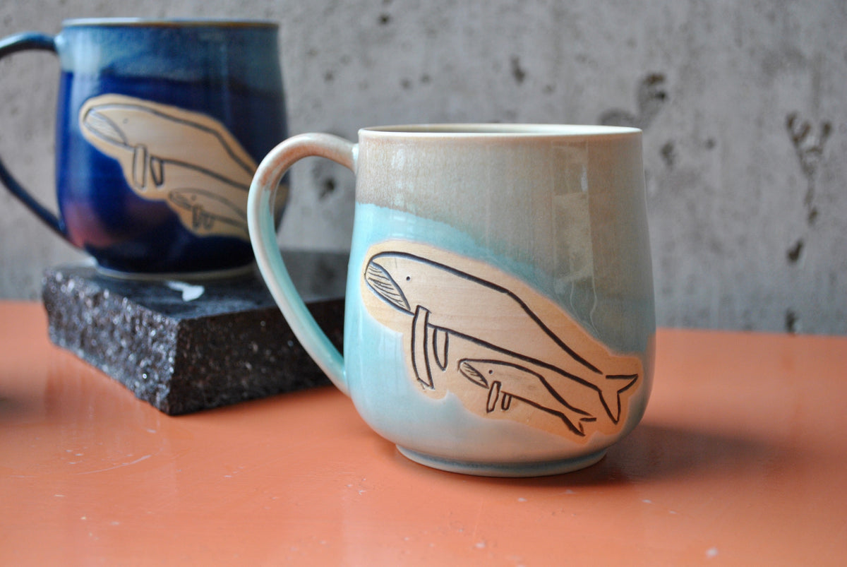 Mama & Baby Whale Mug - Light Blue by Evelyn B. Leon